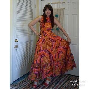 Vintage 70s orange and pink print gown